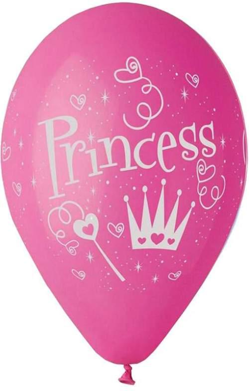 """12"""" Μπαλόνι τυπωμένο Princess φούξια"""
