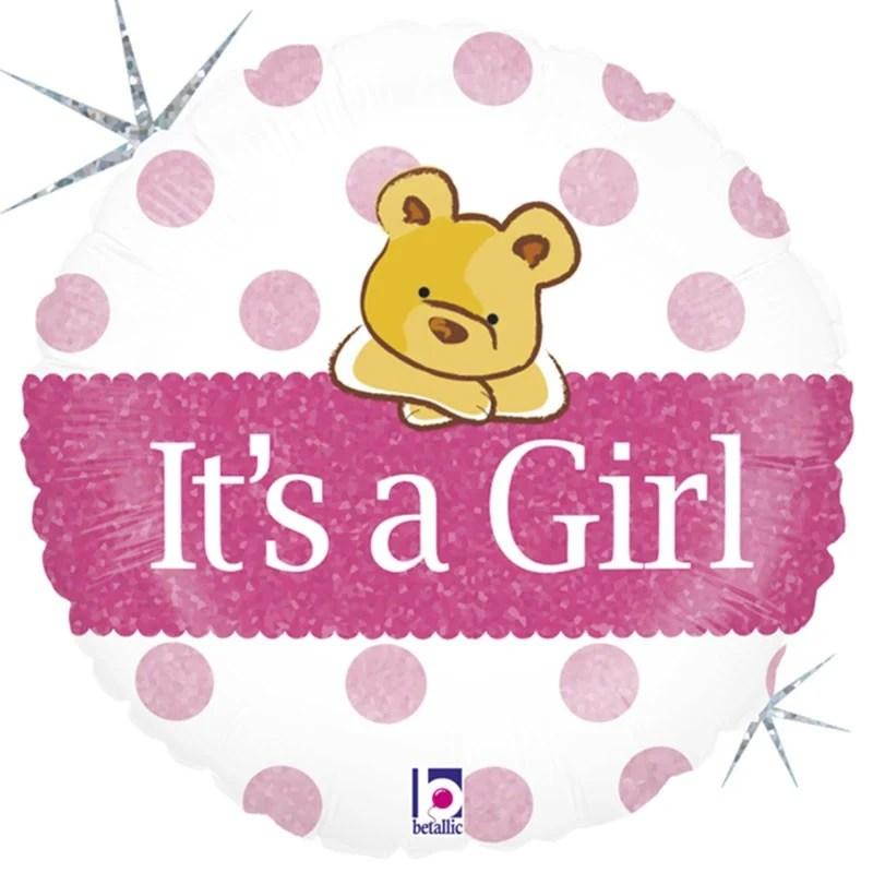 Μπαλόνι γέννησης Baby Girl αρκουδάκι 45 εκ