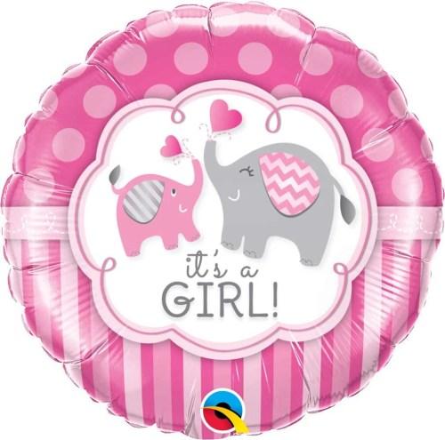Μπαλόνι γέννησης Baby Girl ελεφαντάκια 45 εκ