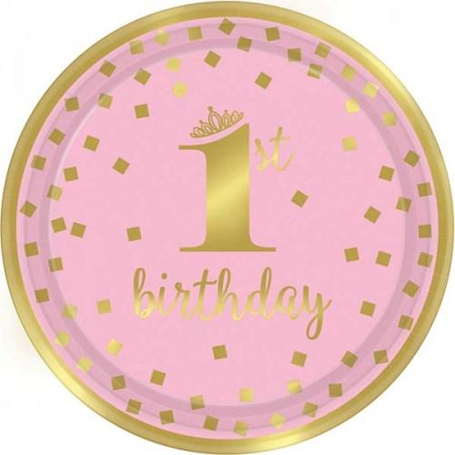 """Πιάτα πάρτυ μικρά """"1st Birthday"""" ροζ & χρυσό (8 τεμ)"""