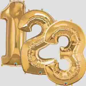 """34"""" Helium Filled Gold Numbers"""