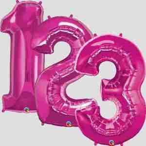 """34"""" Helium Filled Pink Numbers"""
