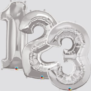 """34"""" Helium Filled Silver Numbers"""