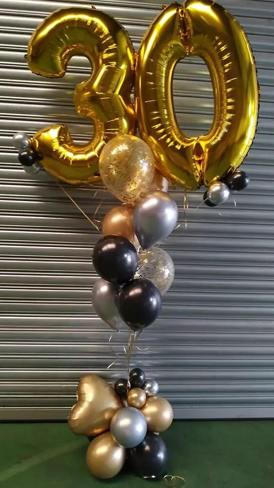 ballon boeket 30 jaar zwart zilver goud - The Balloon Factory