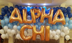 Alpha Chi helium balloons, Balloon Numbers and Letters, by Balloonopolis, Columbia, SC