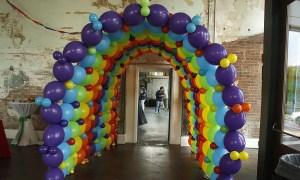 Rainbow balloon tunnel, by Balloonopolis, Columbia, Sc