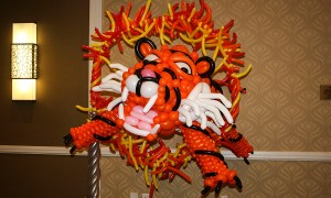 Balloon tiger leaps through ring of fire, by Balloonopolis, Columbia, SC