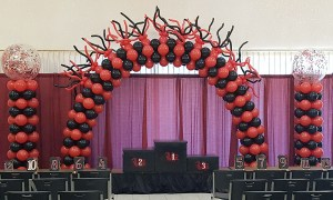 Garnet and black fancy balloon arch, by Balloonopolis, Columbia, SC