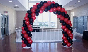 Garnet and black spiral balloon arch, by Balloonopolis, Columbia, SC