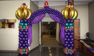 Arabian Nights themed balloon arch for Prom, by Balloonopolis, Columbia, SC