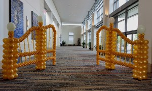 Gold balloon gate, by Balloonopolis, Columbia, SC