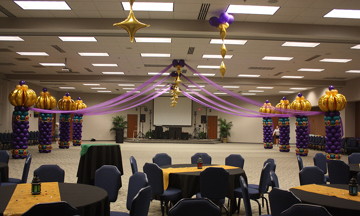 Arabian Nights themed balloon dancefloor, by Balloonopolis, Columbia, SC
