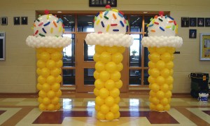 Ice Cream Cone Balloon Columns, by Balloonopolis, Columbia, SC
