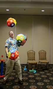 Ralph Summer juggling balloons, by Balloonopolis, Columbia, SC