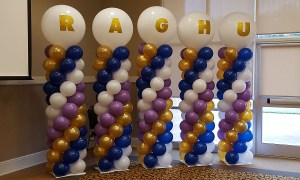 Name in balloons on columns, Balloon Numbers and Letters, by Balloonopolis, Columbia, SC