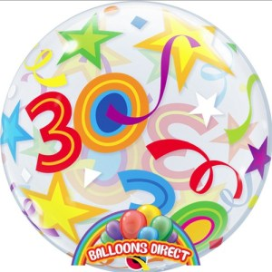 """30th birthday 22"""" shapes bubble balloon from balloons direct"""