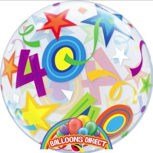 """40th birthday 22"""" shapes bubble balloon from balloons direct"""