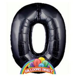 """black number 0 large 34"""" foil balloon"""