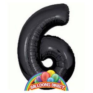 """black number 6 large 34"""" foil balloon"""