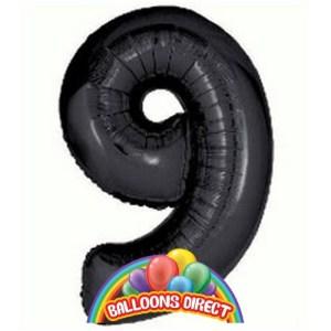 """black number 9 large 34"""" foil balloon"""