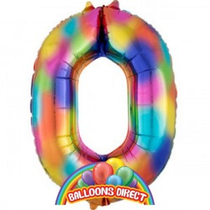 """rainbow number 0 large 34"""" foil balloon"""