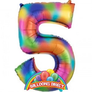 """rainbow number 5 large 34"""" foil balloon"""