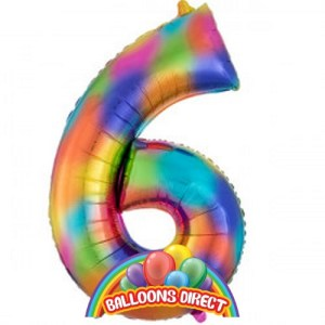 """rainbow number 6 large 34"""" foil balloon"""