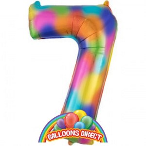 """rainbow number 7 large 34"""" foil balloon from BalloonsDirect.ie"""