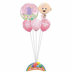 Our welcome baby girl pink balloon bouquet from balloonsdirect.ie