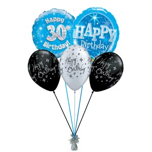 our 30th birthday party blue balloon bouquet from balloonsdirect.ie