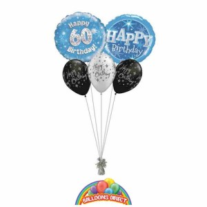 60th birthday blue bouquet from balloonsdirect.ie