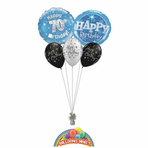 70th birthday blue bouquet from balloonsdirect.ie
