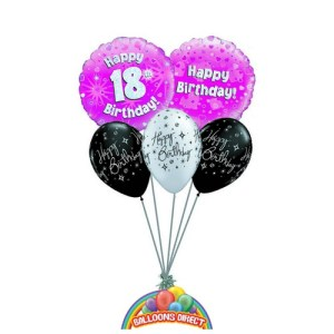 18th birthday pink balloon bouquet from balloonsdirect.ie