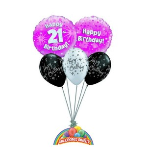 21st birthday pink balloon bouquet from balloonsdirect.ie