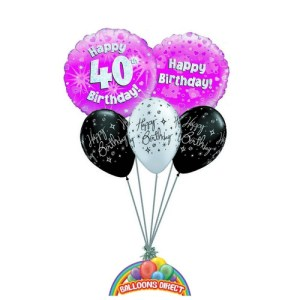 40th birthday pink balloon bouquet from balloonsdirect.ie