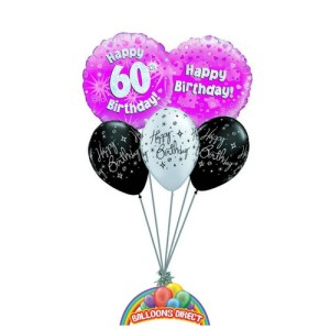 60th pink birthday balloon bouquet for ladies or girls from balloonsdirect.ie