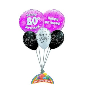 80th pink birthday balloon bouquet for ladies or girls from balloonsdirect.ie