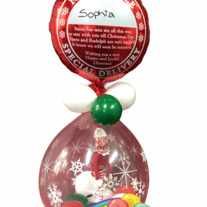 Our Santa Personalised Balloon with stuffed elf BalloonsDirect.ie