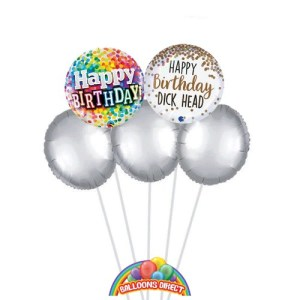 Our Happy birthday dickhead balloon bouquet from Balloonsdirect.ie