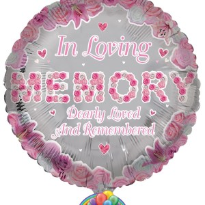 Our in loving memory pink foil balloon from balloons direct.ie