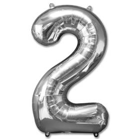 Number 2 Silver Jumbo Foil Balloon from Balloons Shop NYC