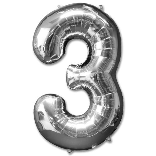 Number 3 Silver Jumbo Foil Balloon from Balloons Shop NYC
