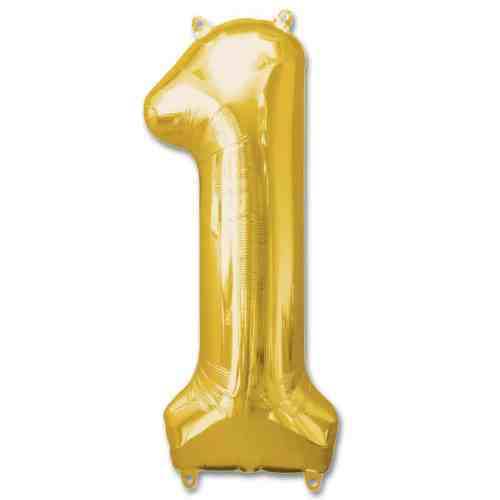 Number 1 Gold Jumbo Foil Balloon from Balloons Shop NYC