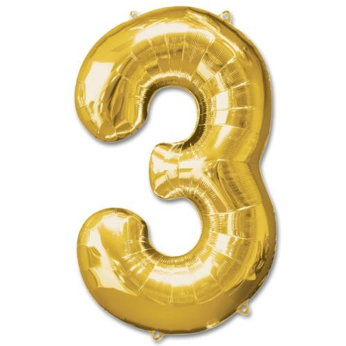 Number 3 Gold Jumbo Foil Balloon from Balloons Shop NYC