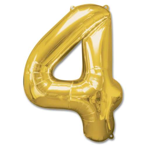 Number 4 Gold Jumbo Foil Balloon from Balloons Shop NYC