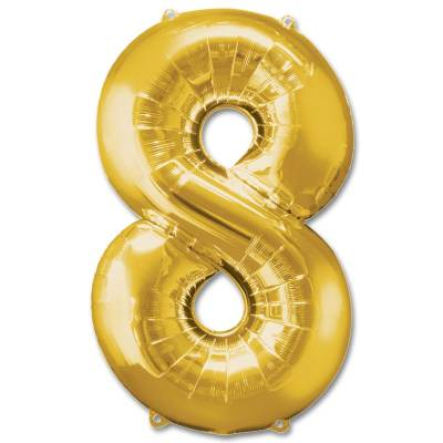 Number 8 Gold Jumbo Foil Balloon from Balloons Shop NYC