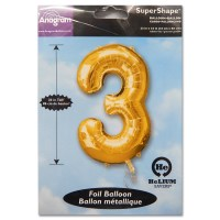 3 Gold Number Foil Balloon Not Inflated from Balloon Shop NYC