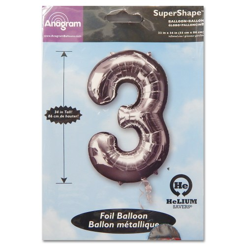 3 Silver Number Foil Balloon Not Inflated from Balloon Shop NYC