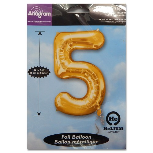 5 Gold Number Foil Balloon Not Inflated from Balloon Shop NYC