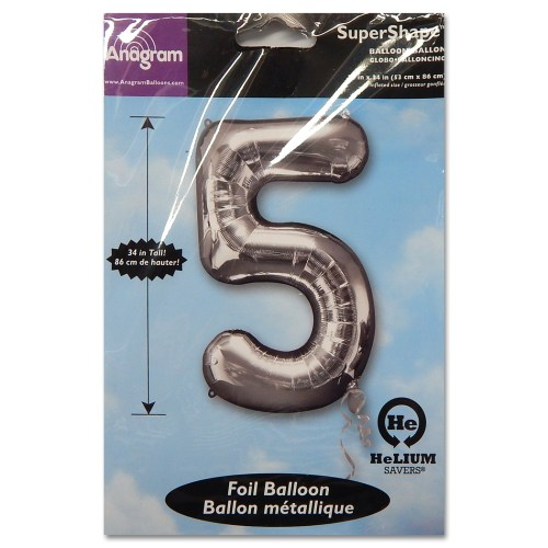 5 Silver Number Foil Balloon Not Inflated from Balloon Shop NYC